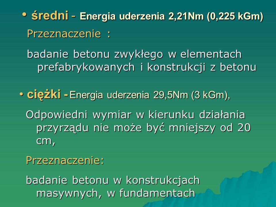 średni - Energia uderzenia 2,21Nm (0,225 kGm) średni - Energia uderzenia 2,21Nm (0,225 kGm) Przeznaczenie : badanie betonu zwykłego w elementach prefa