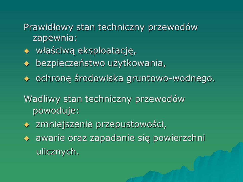 Prawidłowy stan techniczny przewodów zapewnia: właściwą eksploatację, właściwą eksploatację, bezpieczeństwo użytkowania, bezpieczeństwo użytkowania, o