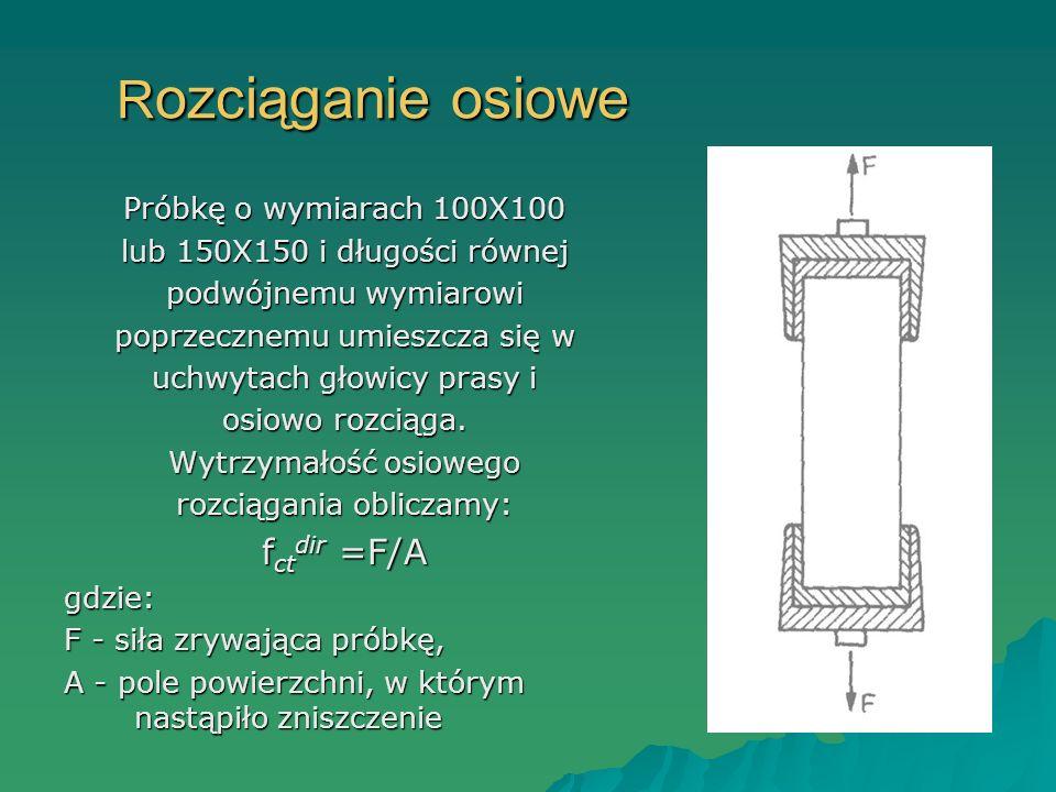 R ozciąganie osiowe Próbkę o wymiarach 100X100 lub 150X150 i długości równej podwójnemu wymiarowi poprzecznemu umieszcza się w uchwytach głowicy prasy