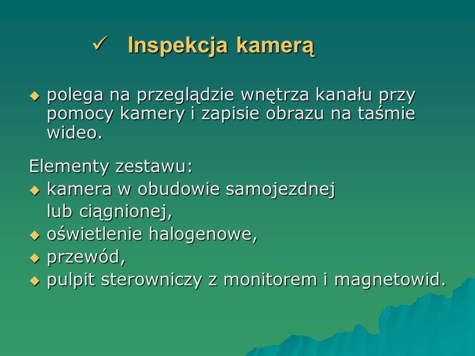 Inspekcja kamerą Inspekcja kamerą polega na przeglądzie wnętrza kanału przy pomocy kamery i zapisie obrazu na taśmie wideo. polega na przeglądzie wnęt