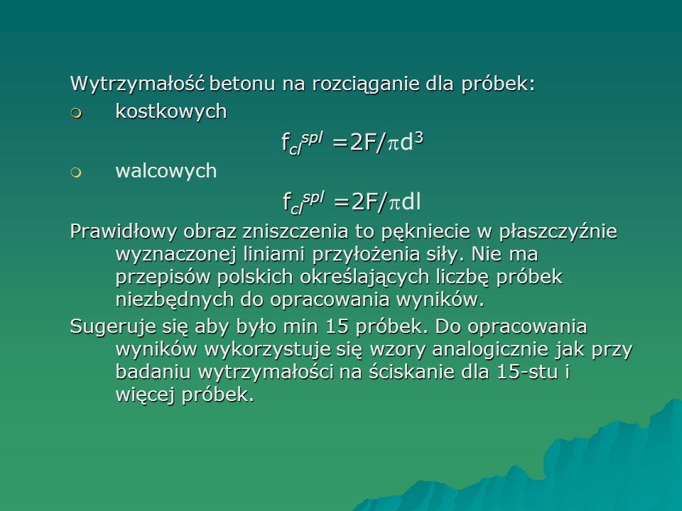 Wytrzymałość betonu na rozciąganie dla próbek: kostkowych kostkowych f cl spl =2F/ 3 f cl spl =2F/d 3 walcowych f cl spl =2F/ f cl spl =2F/dl Prawidło