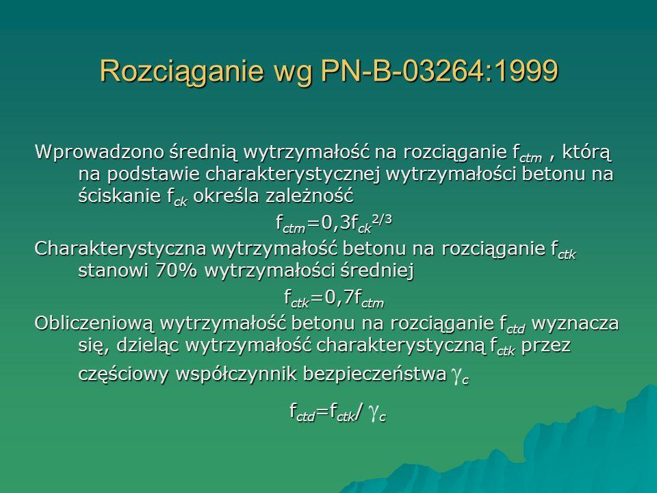 Rozciąganie wg PN-B-03264:1999 Wprowadzono średnią wytrzymałość na rozciąganie f ctm, którą na podstawie charakterystycznej wytrzymałości betonu na śc