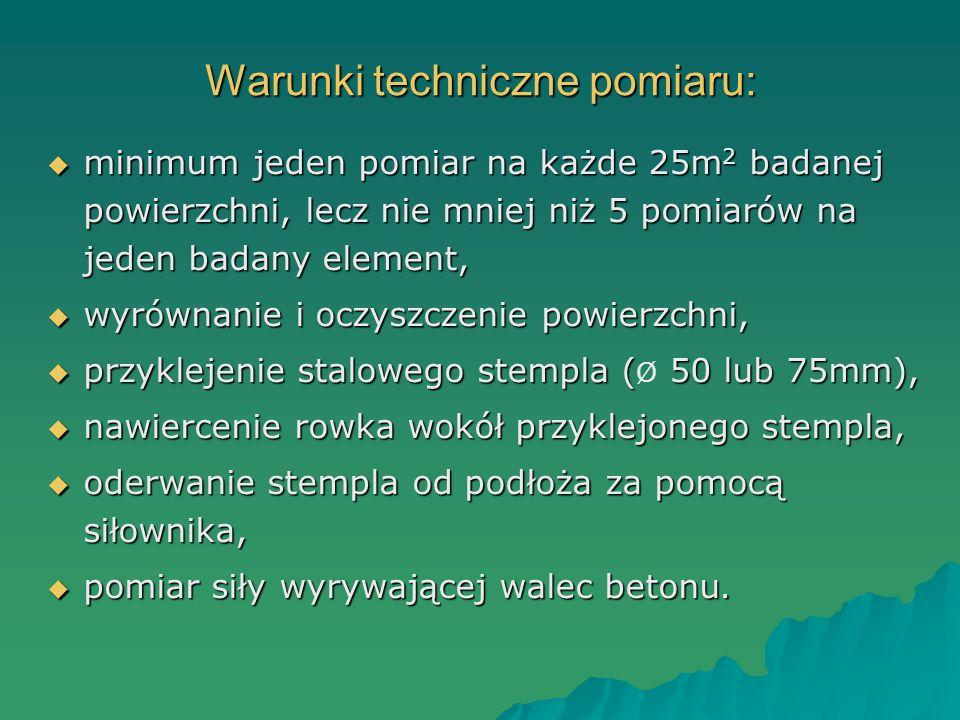 Warunki techniczne pomiaru: minimum jeden pomiar na każde 25m 2 badanej powierzchni, lecz nie mniej niż 5 pomiarów na jeden badany element, minimum je