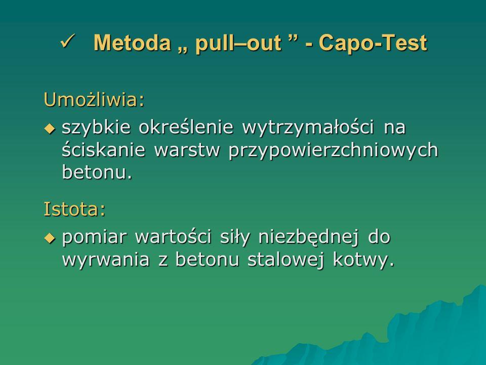 Metoda pull–out - Capo-Test Metoda pull–out - Capo-Test Umożliwia: szybkie określenie wytrzymałości na ściskanie warstw przypowierzchniowych betonu. s