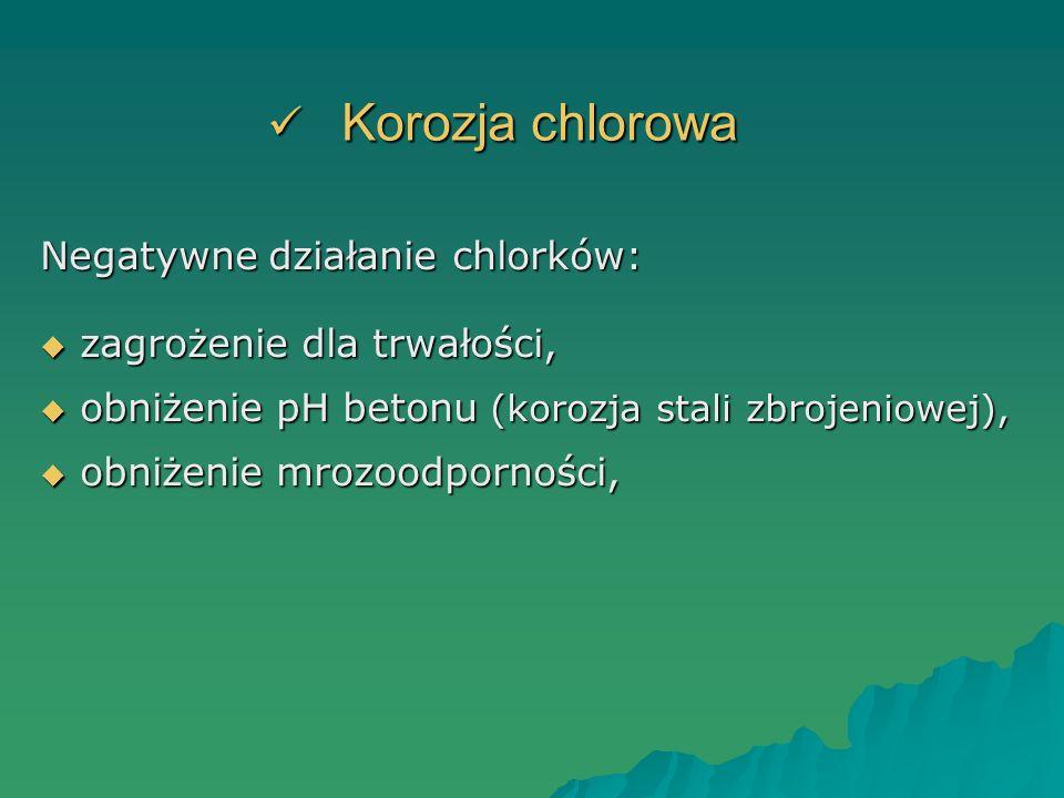 Korozja chlorowa Korozja chlorowa Negatywne działanie chlorków: zagrożenie dla trwałości, zagrożenie dla trwałości, obniżenie pH betonu (korozja stali