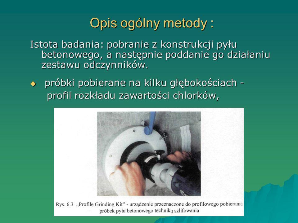Opis ogólny metody : Istota badania: pobranie z konstrukcji pyłu betonowego, a następnie poddanie go działaniu zestawu odczynników. próbki pobierane n