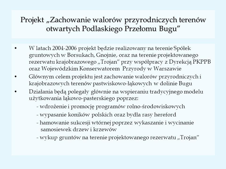 Projekt Zachowanie walorów przyrodniczych terenów otwartych Podlaskiego Przełomu Bugu W latach 2004-2006 projekt będzie realizowany na terenie Spółek