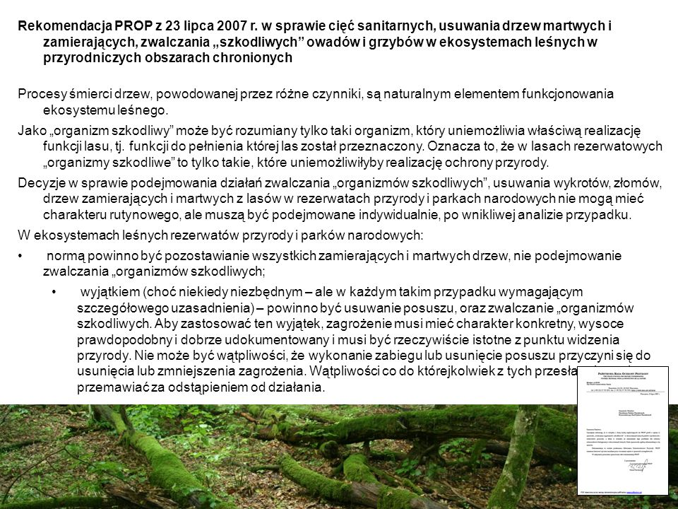 Rekomendacja PROP z 23 lipca 2007 r. w sprawie cięć sanitarnych, usuwania drzew martwych i zamierających, zwalczania szkodliwych owadów i grzybów w ek