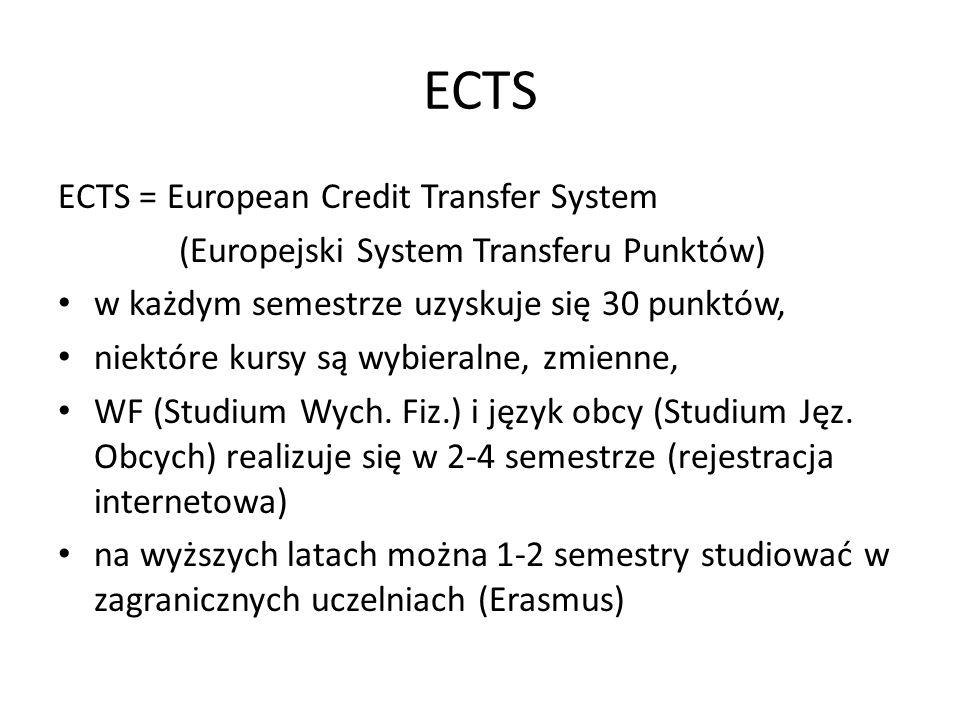 ECTS ECTS = European Credit Transfer System (Europejski System Transferu Punktów) w każdym semestrze uzyskuje się 30 punktów, niektóre kursy są wybier
