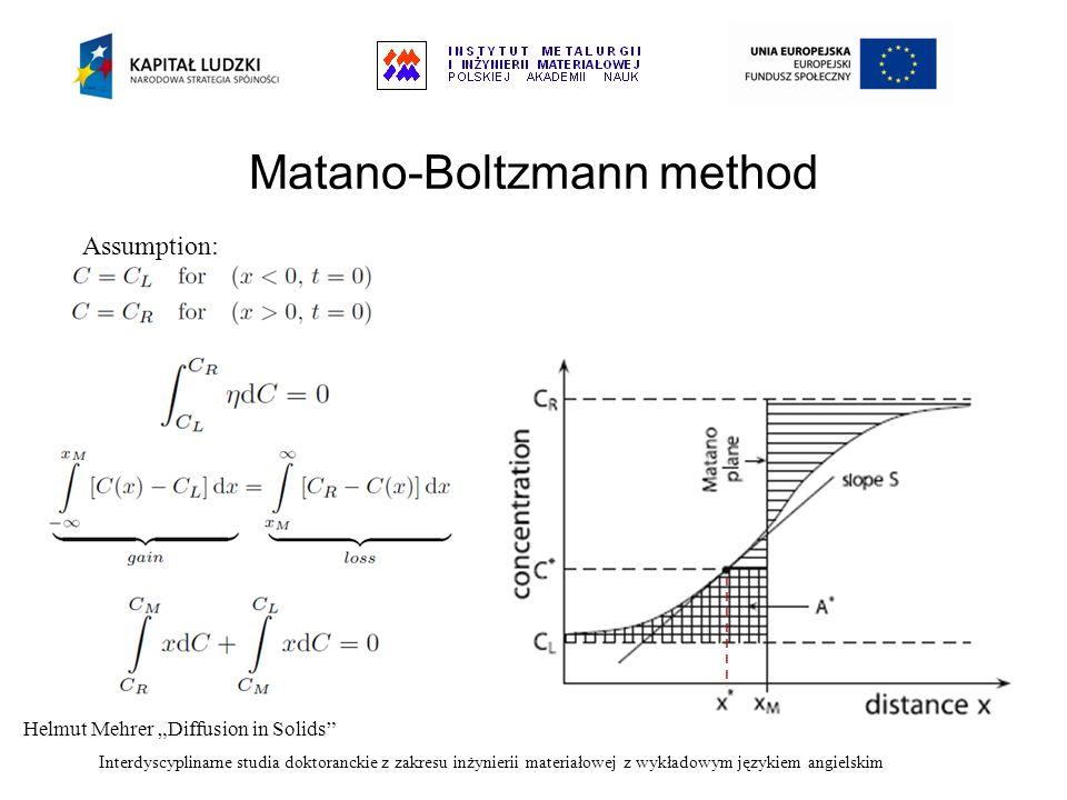 Interdyscyplinarne studia doktoranckie z zakresu inżynierii materiałowej z wykładowym językiem angielskim Matano-Boltzmann method Assumption: Helmut M