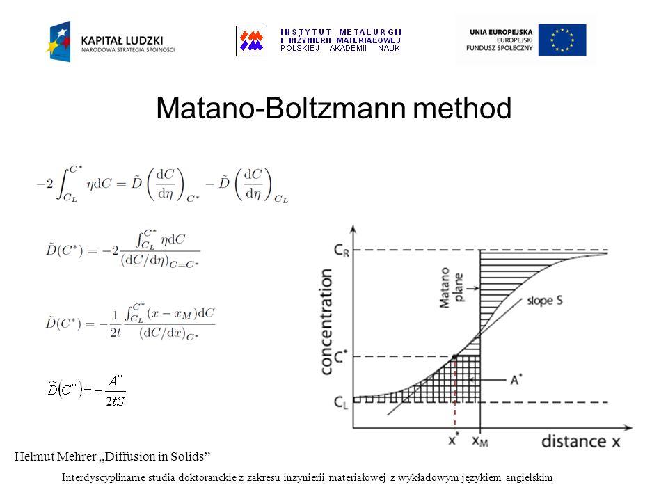 Interdyscyplinarne studia doktoranckie z zakresu inżynierii materiałowej z wykładowym językiem angielskim Matano-Boltzmann method Helmut Mehrer Diffus