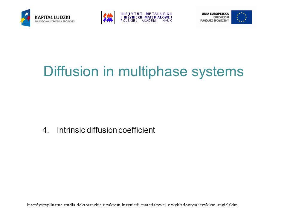 Diffusion in multiphase systems 4.Intrinsic diffusion coefficient Interdyscyplinarne studia doktoranckie z zakresu inżynierii materiałowej z wykładowy