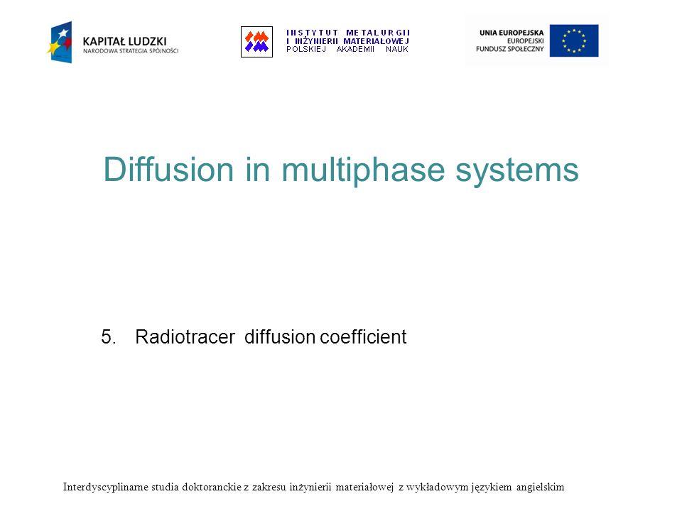 Diffusion in multiphase systems 5.Radiotracer diffusion coefficient Interdyscyplinarne studia doktoranckie z zakresu inżynierii materiałowej z wykłado
