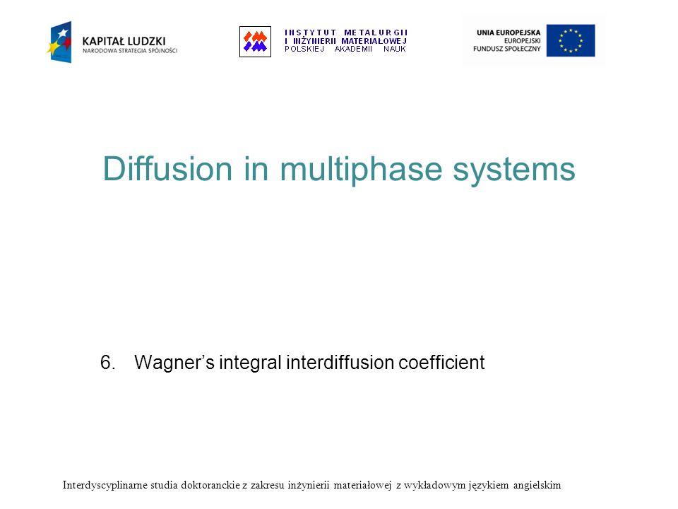 Diffusion in multiphase systems 6.Wagners integral interdiffusion coefficient Interdyscyplinarne studia doktoranckie z zakresu inżynierii materiałowej