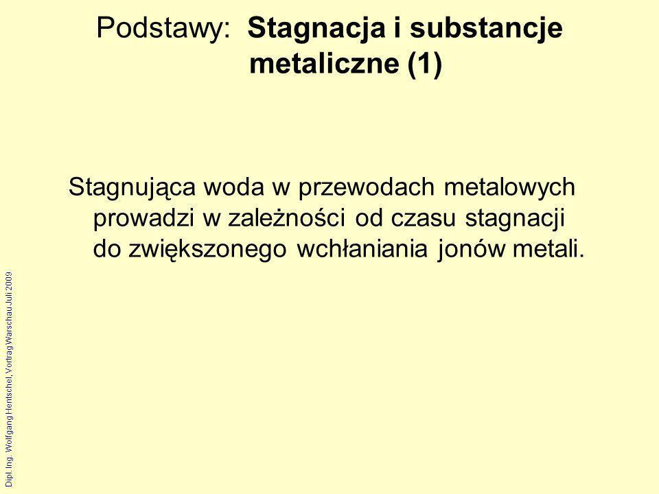 Dipl. Ing. Wolfgang Hentschel, Vortrag Warschau Juli 2009 Podstawy: Stagnacja i substancje metaliczne (1) Stagnująca woda w przewodach metalowych prow