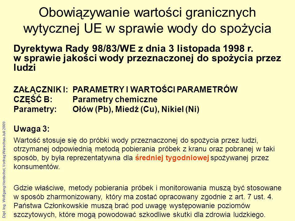 Dipl. Ing. Wolfgang Hentschel, Vortrag Warschau Juli 2009 Obowiązywanie wartości granicznych wytycznej UE w sprawie wody do spożycia Dyrektywa Rady 98