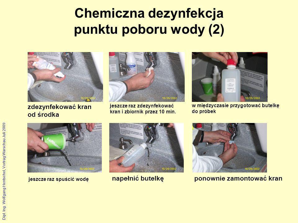 Dipl. Ing. Wolfgang Hentschel, Vortrag Warschau Juli 2009 Chemiczna dezynfekcja punktu poboru wody (2) napełnić butelkęponownie zamontować kran jeszcz