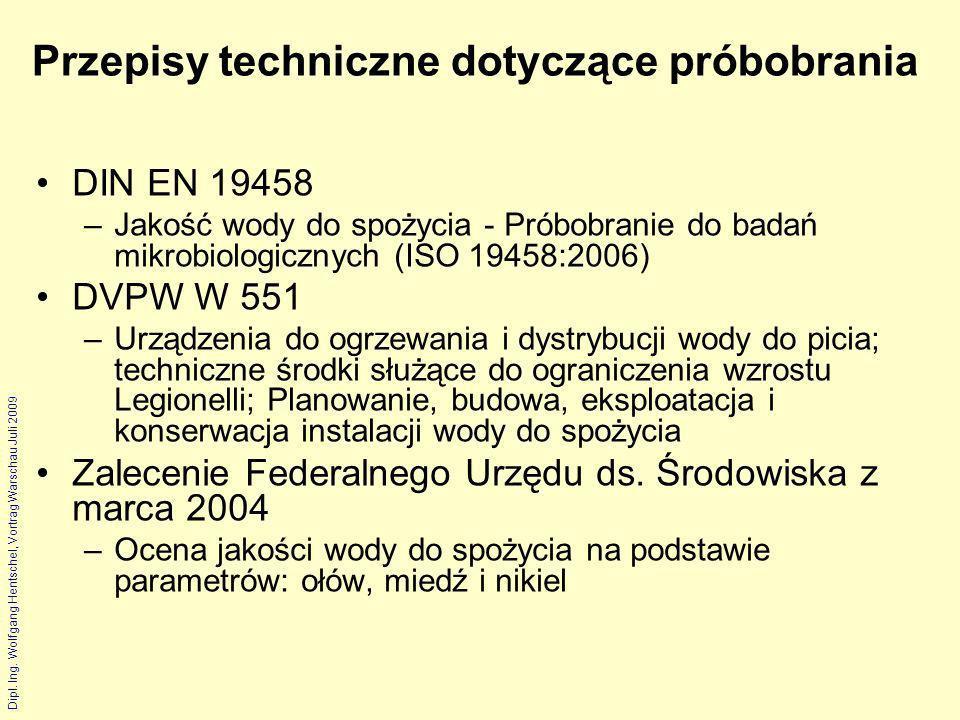 Dipl. Ing. Wolfgang Hentschel, Vortrag Warschau Juli 2009 Przepisy techniczne dotyczące próbobrania DIN EN 19458 –Jakość wody do spożycia - Próbobrani