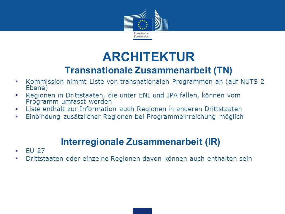 ARCHITEKTUR Transnationale Zusammenarbeit (TN) Kommission nimmt Liste von transnationalen Programmen an (auf NUTS 2 Ebene) Regionen in Drittstaaten, d