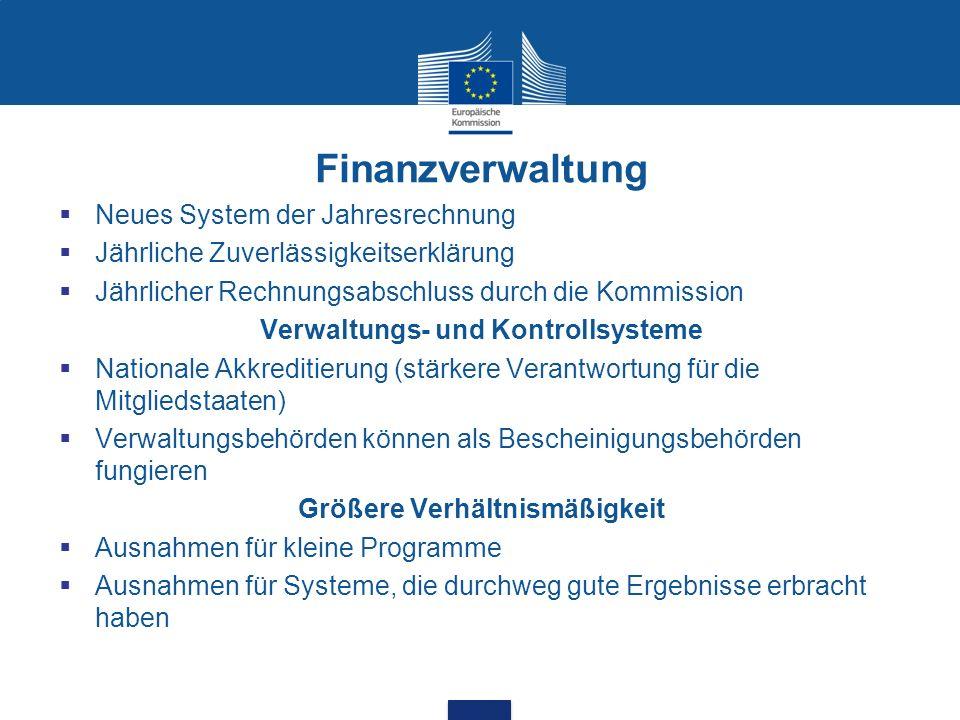 Finanzverwaltung Neues System der Jahresrechnung Jährliche Zuverlässigkeitserklärung Jährlicher Rechnungsabschluss durch die Kommission Verwaltungs- u