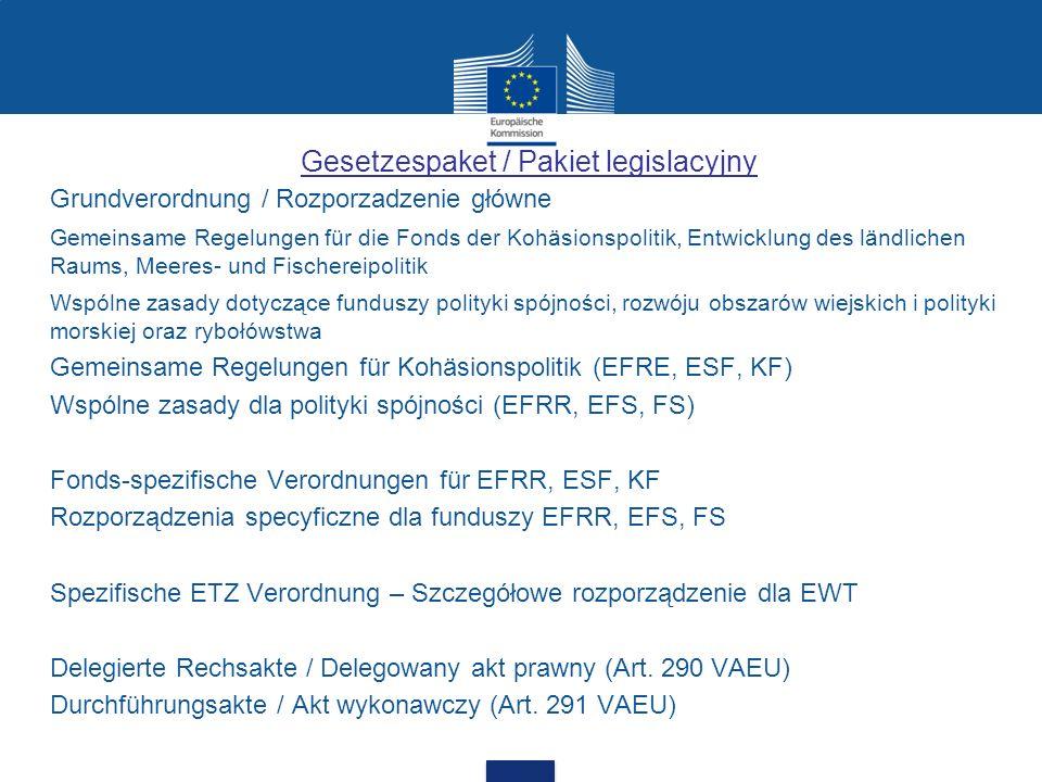 Gesetzespaket / Pakiet legislacyjny Grundverordnung / Rozporzadzenie główne Gemeinsame Regelungen für die Fonds der Kohäsionspolitik, Entwicklung des