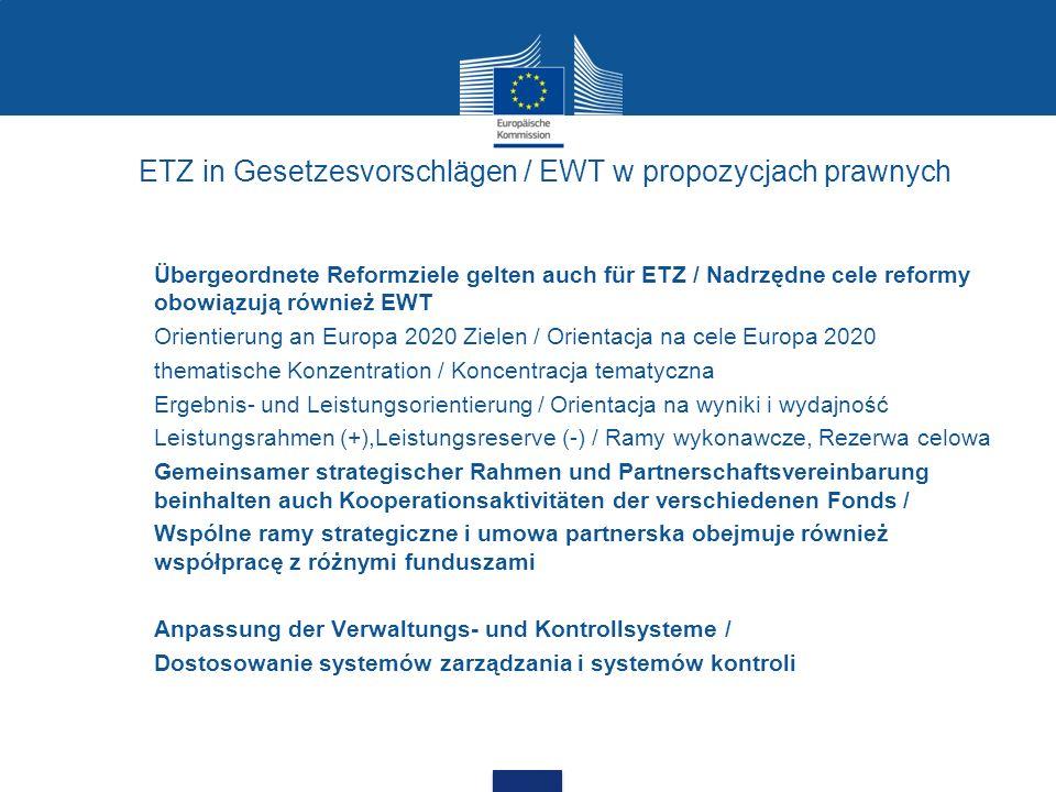 ETZ in Gesetzesvorschlägen / EWT w propozycjach prawnych Übergeordnete Reformziele gelten auch für ETZ / Nadrzędne cele reformy obowiązują również EWT
