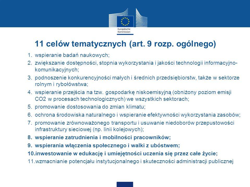 11 celów tematycznych (art. 9 rozp. ogólnego) 1.wspieranie badań naukowych; 2.zwiększanie dostępności, stopnia wykorzystania i jakości technologii inf