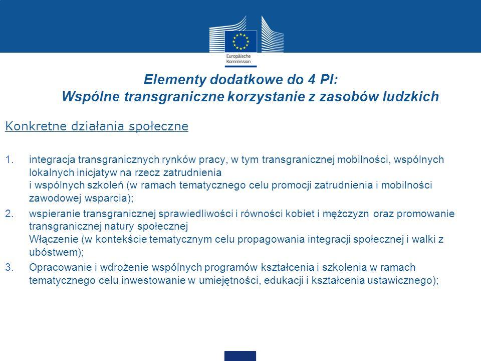 Elementy dodatkowe do 4 PI: Wspólne transgraniczne korzystanie z zasobów ludzkich Konkretne działania społeczne 1.integracja transgranicznych rynków p