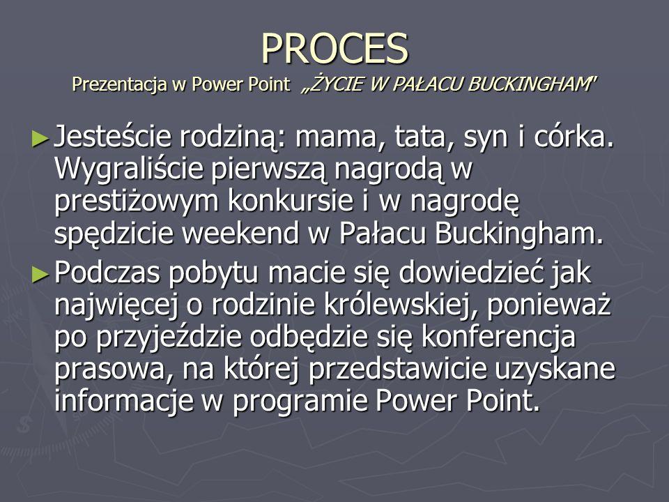 PROCES Prezentacja w Power Point ŻYCIE W PAŁACU BUCKINGHAM Jesteście rodziną: mama, tata, syn i córka. Wygraliście pierwszą nagrodą w prestiżowym konk