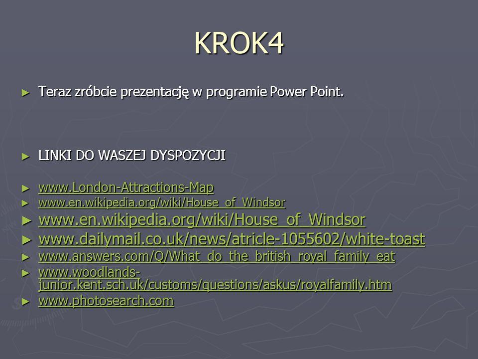 KROK4 Teraz zróbcie prezentację w programie Power Point. Teraz zróbcie prezentację w programie Power Point. LINKI DO WASZEJ DYSPOZYCJI LINKI DO WASZEJ