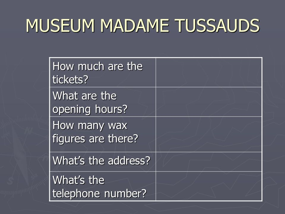 MUSEUM MADAME TUSSAUDS How much are the tickets? What are the opening hours? How many wax figures are there? Whats the address? Whats the telephone nu