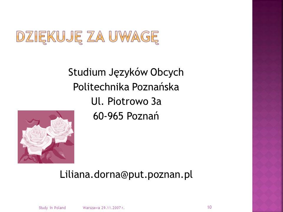 Studium Języków Obcych Politechnika Poznańska Ul.