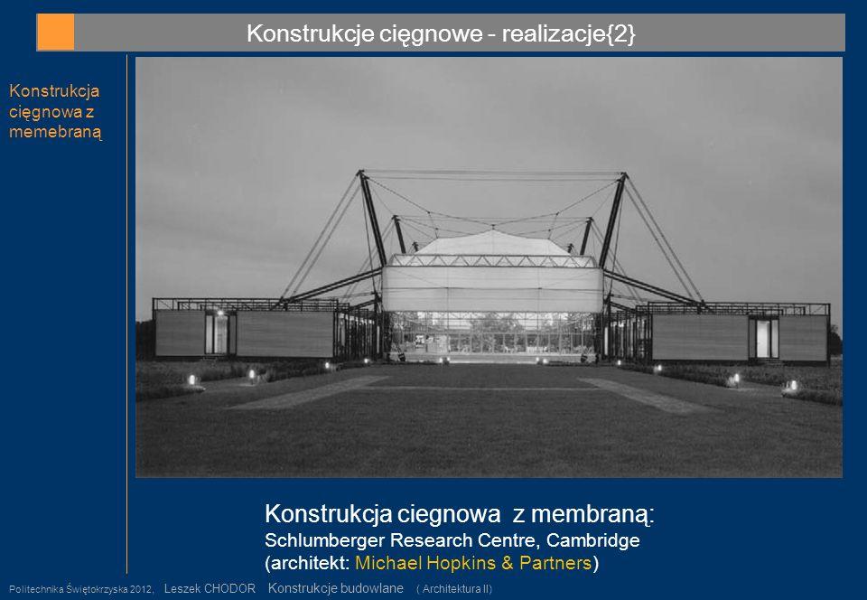 Konstrukcje cięgnowe - realizacje{2} Konstrukcja cięgnowa z memebraną Politechnika Świętokrzyska 2012, Leszek CHODOR Konstrukcje budowlane ( Architekt