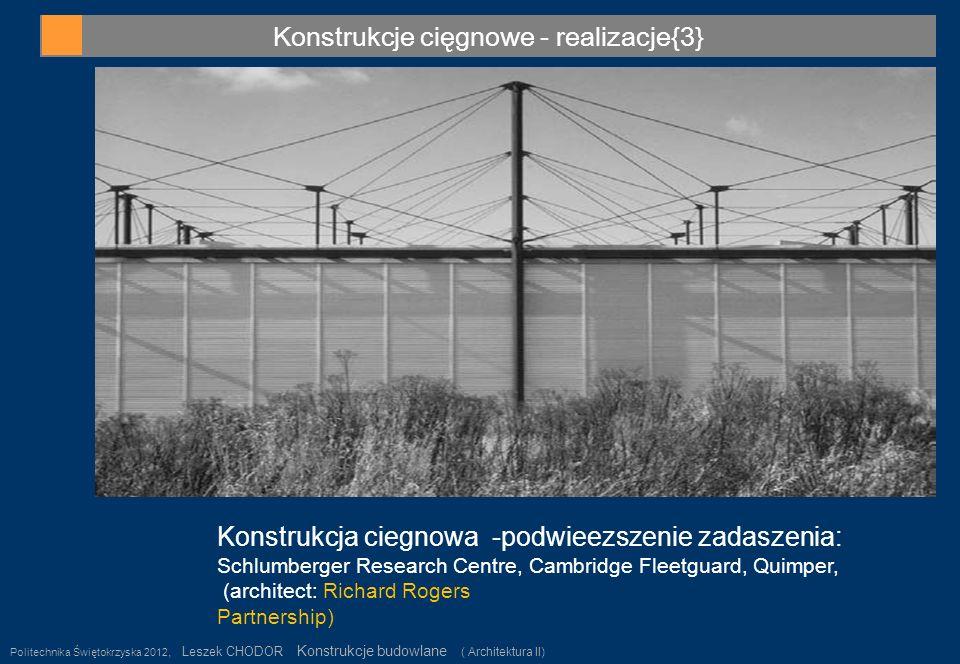 Konstrukcje cięgnowe - realizacje{3} Politechnika Świętokrzyska 2012, Leszek CHODOR Konstrukcje budowlane ( Architektura II) 27 Konstrukcja ciegnowa -