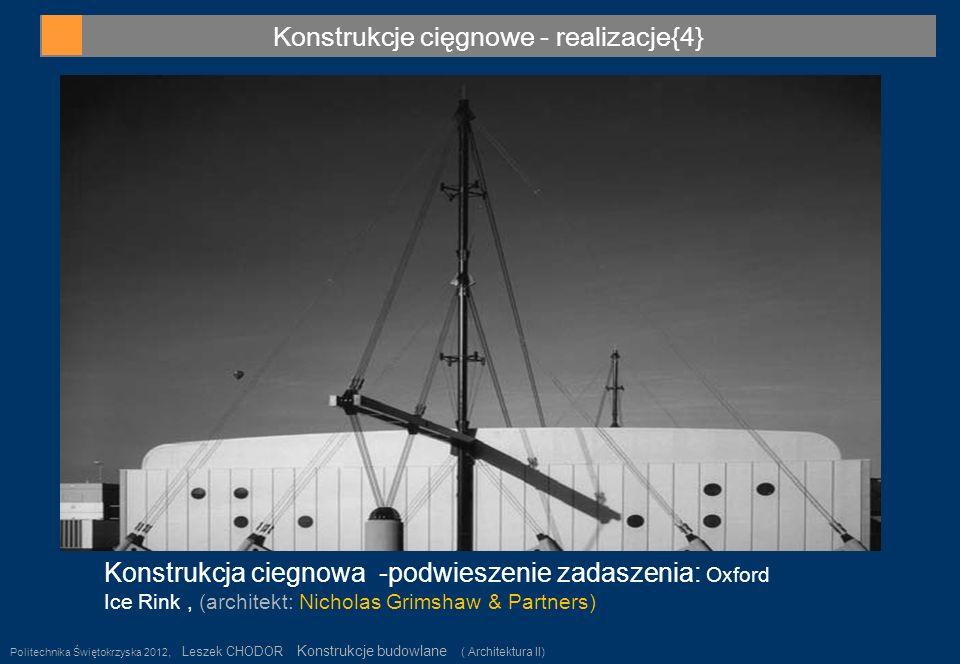 Konstrukcje cięgnowe - realizacje{4} Politechnika Świętokrzyska 2012, Leszek CHODOR Konstrukcje budowlane ( Architektura II) 28 Konstrukcja ciegnowa -