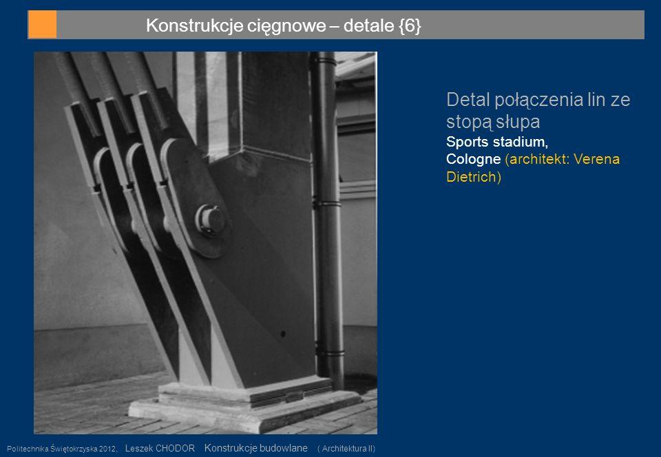 Konstrukcje cięgnowe – detale {6} Politechnika Świętokrzyska 2012, Leszek CHODOR Konstrukcje budowlane ( Architektura II) 34 Detal połączenia lin ze s