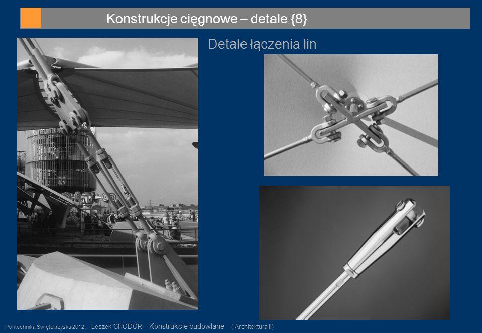Konstrukcje cięgnowe – detale {8} Politechnika Świętokrzyska 2012, Leszek CHODOR Konstrukcje budowlane ( Architektura II) 36 Detale łączenia lin