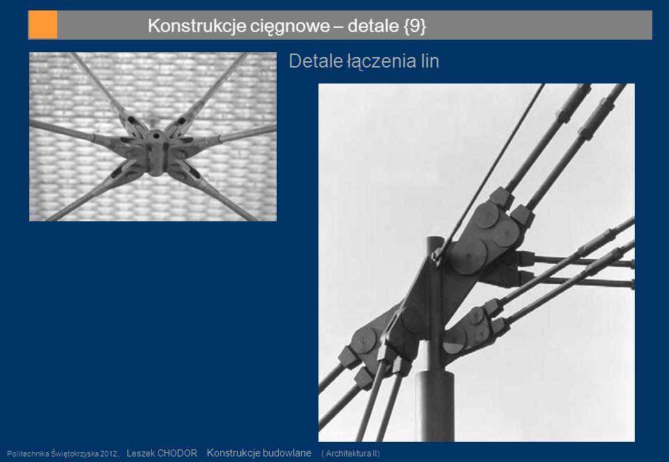 Konstrukcje cięgnowe – detale {9} Politechnika Świętokrzyska 2012, Leszek CHODOR Konstrukcje budowlane ( Architektura II) 37 Detale łączenia lin