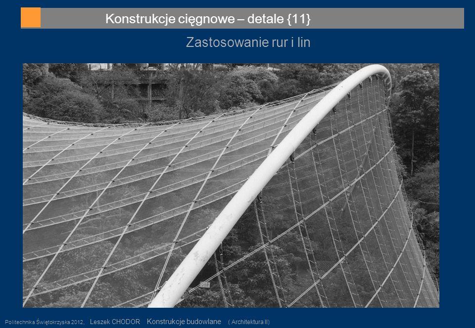 Konstrukcje cięgnowe – detale {11} Politechnika Świętokrzyska 2012, Leszek CHODOR Konstrukcje budowlane ( Architektura II) 39 Zastosowanie rur i lin