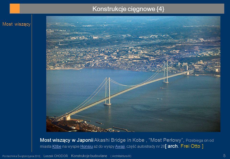 Konstrukcje cięgnowe {4} Most wiszący Politechnika Świętokrzyska 2012, Leszek CHODOR Konstrukcje budowlane ( Architektura III) 5 Most wiszący w Japoni