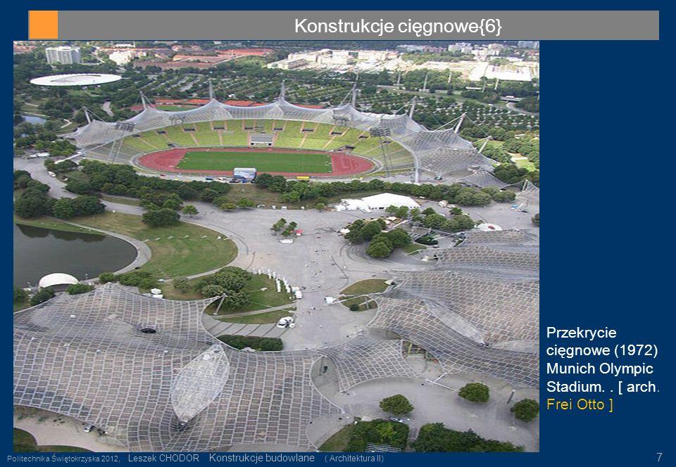 Konstrukcje cięgnowe{6} Politechnika Świętokrzyska 2012, Leszek CHODOR Konstrukcje budowlane ( Architektura II) 7 Przekrycie cięgnowe (1972) Munich Ol