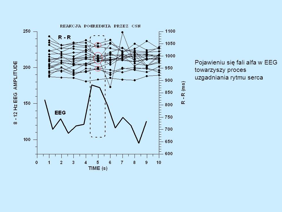 Porównanie chaosu (wymiar korelacji D2) w rytmie serca z chaosem w przebiegach EEG (linia czerwona) wywołanym zewnętrznym polem magnetycznym o różnej