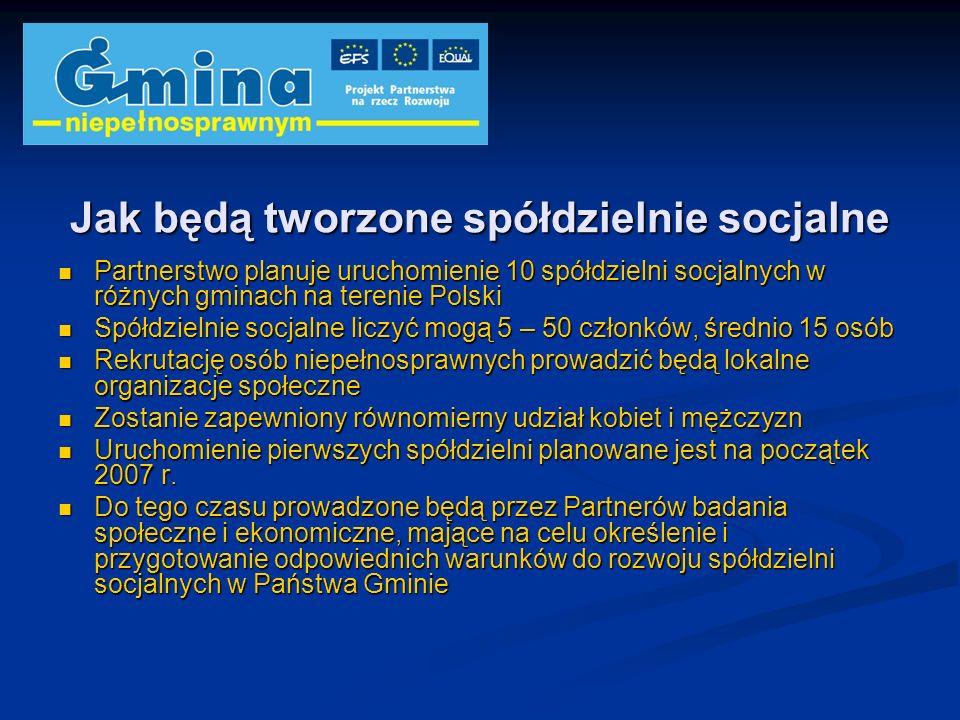 Jak będą tworzone spółdzielnie socjalne Partnerstwo planuje uruchomienie 10 spółdzielni socjalnych w różnych gminach na terenie Polski Partnerstwo pla