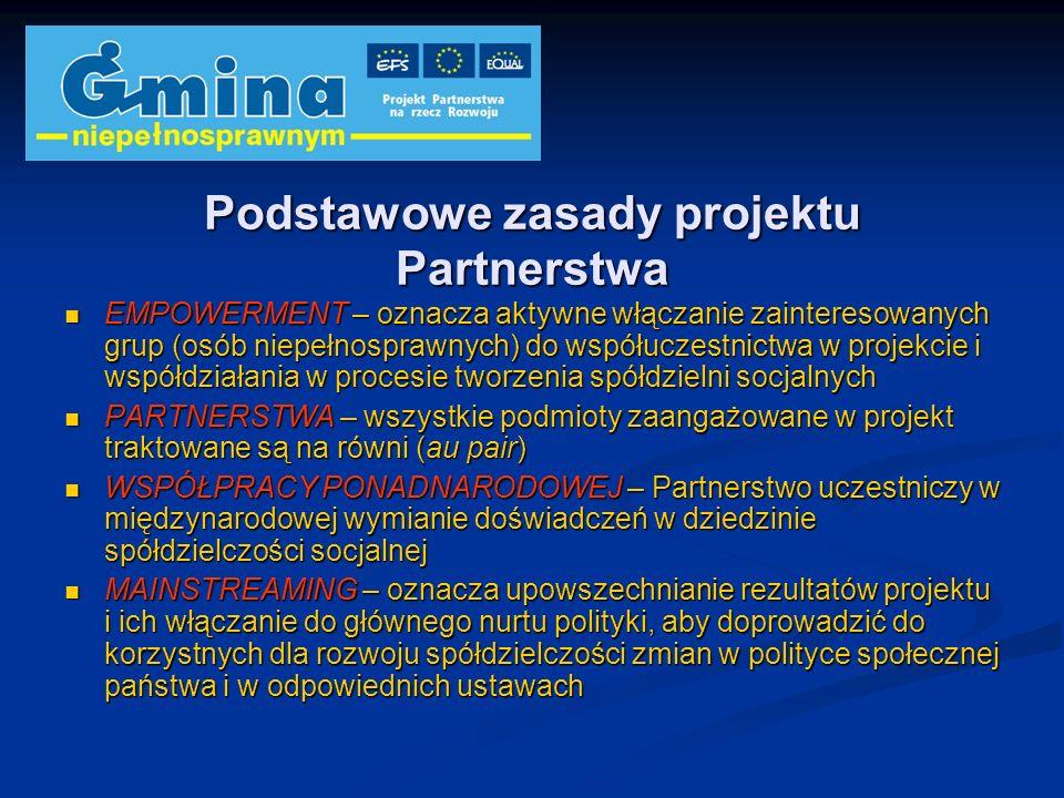 Podstawowe zasady projektu Partnerstwa EMPOWERMENT – oznacza aktywne włączanie zainteresowanych grup (osób niepełnosprawnych) do współuczestnictwa w p