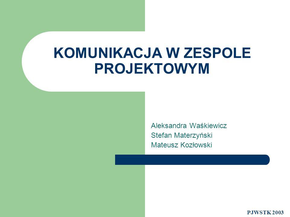 KOMUNIKACJA W ZESPOLE PROJEKTOWYM Aleksandra Waśkiewicz Stefan Materzyński Mateusz Kozłowski PJWSTK 2003
