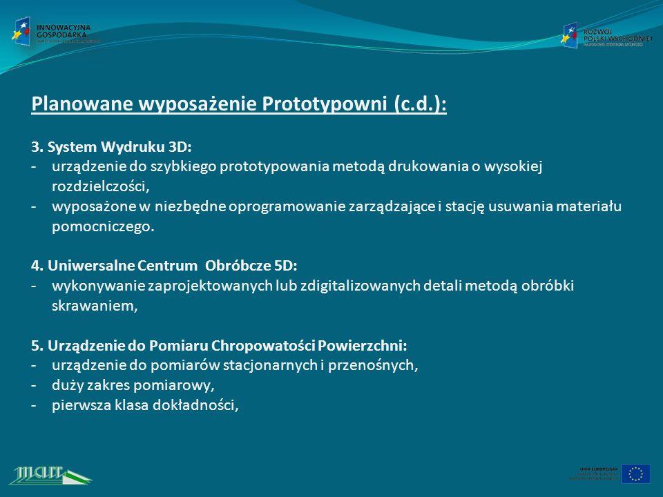 Planowane wyposażenie Prototypowni (c.d.): 3.