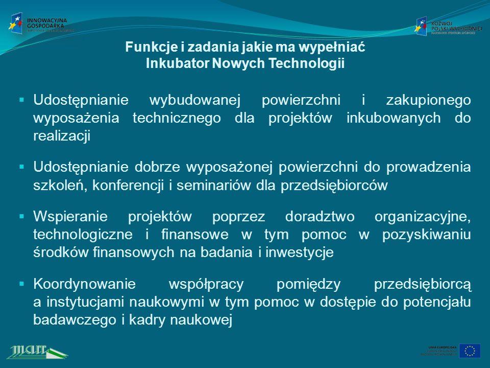 Funkcje i zadania jakie ma wypełniać Inkubator Nowych Technologii Udostępnianie wybudowanej powierzchni i zakupionego wyposażenia technicznego dla projektów inkubowanych do realizacji Udostępnianie dobrze wyposażonej powierzchni do prowadzenia szkoleń, konferencji i seminariów dla przedsiębiorców Wspieranie projektów poprzez doradztwo organizacyjne, technologiczne i finansowe w tym pomoc w pozyskiwaniu środków finansowych na badania i inwestycje Koordynowanie współpracy pomiędzy przedsiębiorcą a instytucjami naukowymi w tym pomoc w dostępie do potencjału badawczego i kadry naukowej