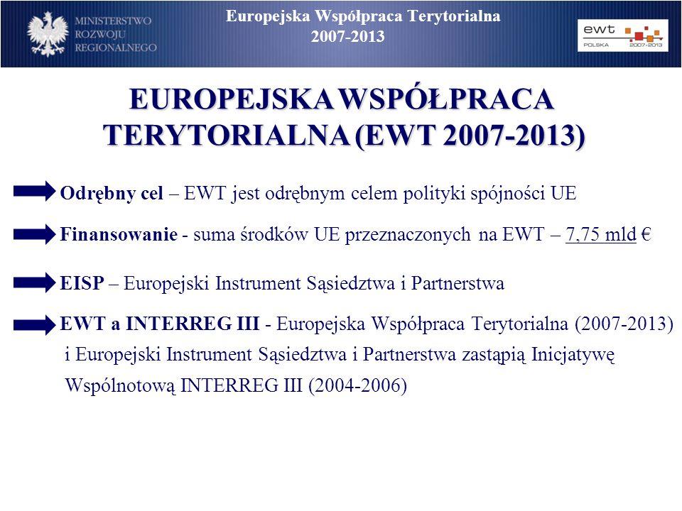 Europejska Współpraca Terytorialna 2007-2013 Odrębny cel – EWT jest odrębnym celem polityki spójności UE Finansowanie - suma środków UE przeznaczonych