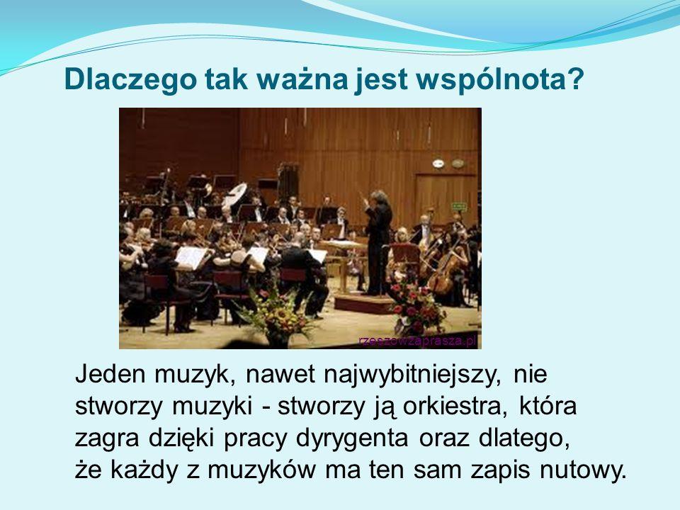 Jeden muzyk, nawet najwybitniejszy, nie stworzy muzyki - stworzy ją orkiestra, która zagra dzięki pracy dyrygenta oraz dlatego, że każdy z muzyków ma