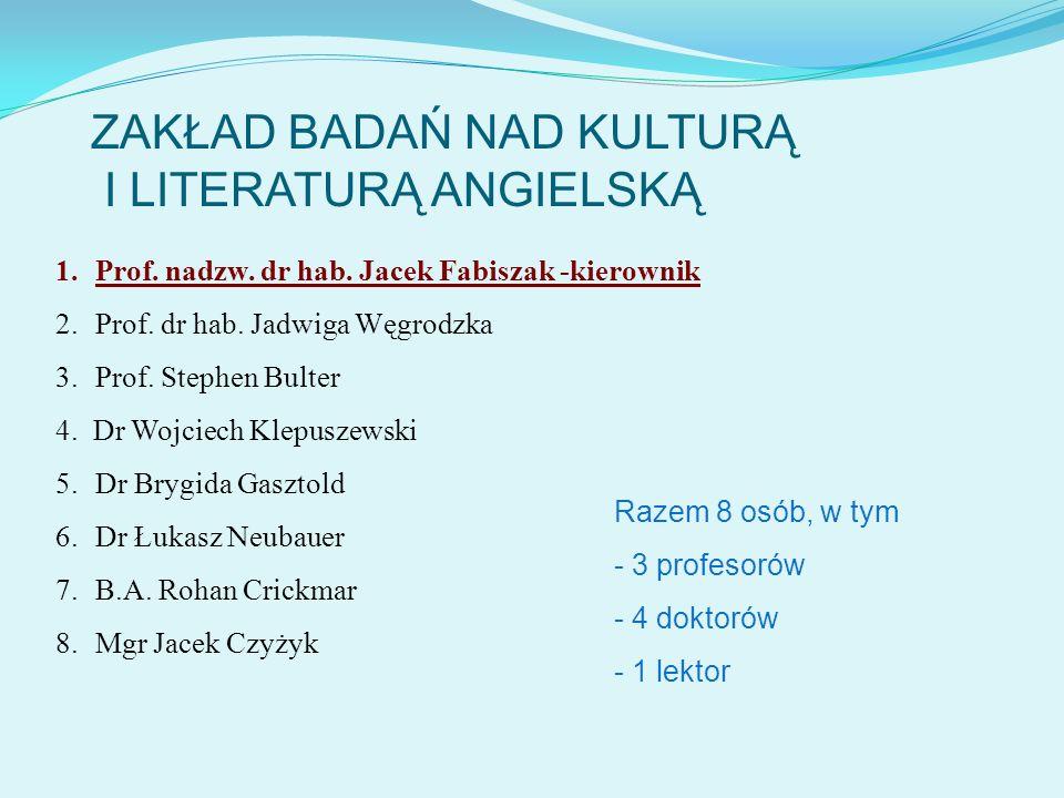 ZAKŁAD BADAŃ NAD KULTURĄ I LITERATURĄ ANGIELSKĄ 1.Prof. nadzw. dr hab. Jacek Fabiszak -kierownik 2.Prof. dr hab. Jadwiga Węgrodzka 3.Prof. Stephen Bul